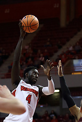 "10 January 2018:  Daouda ""David"" Ndiaye during a College mens basketball game between the Loyola Chicago Ramblers and Illinois State Redbirds in Redbird Arena, Normal IL"