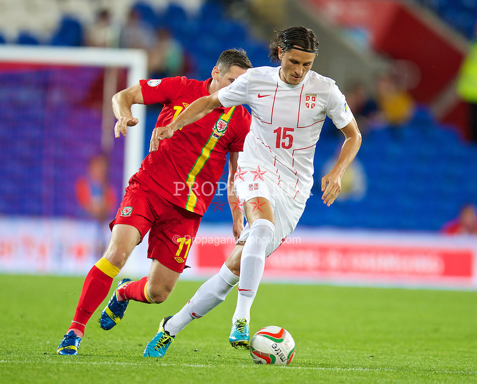 CARDIFF, WALES - Tuesday, September 10, 2013: Serbia's Dejan Lekic in action against Wales during the 2014 FIFA World Cup Brazil Qualifying Group A match at the Cardiff CIty Stadium. (Pic by David Rawcliffe/Propaganda)