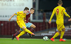 UPTON PARK, ENGLAND - Friday, September 12, 2014: Liverpool's Ryan Kent scores the first goal against West Ham United during the Under 21 FA Premier League match at Upton Park. (Pic by David Rawcliffe/Propaganda)