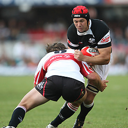 Cobus Grobbelaar cap hits Jacques Botes who as to go off the pitch<br /> Action from Sharks vs Lions Absa Stadium Durban<br /> ABSA Currie Cup Premier Div <br /> 03 Oct 09<br /> 17:05