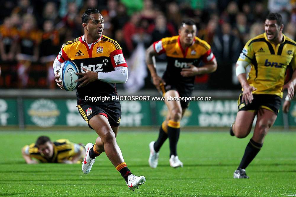 Chiefs' Lelia Masaga makes a break. Super Rugby rugby union match, Chiefs v Hurricanes at Waikato Stadium, Hamilton, New Zealand. Saturday 28th April 2012. Photo: Anthony Au-Yeung / photosport.co.nz