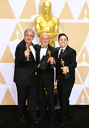 Mark Weingarten, Gregg Landaker and Gary A. Rizzo with their oscar for Best Sound Mixing for Dunkirk in the press room at the 90th Academy Awards held at the Dolby Theatre in Hollywood, Los Angeles, USA.Â