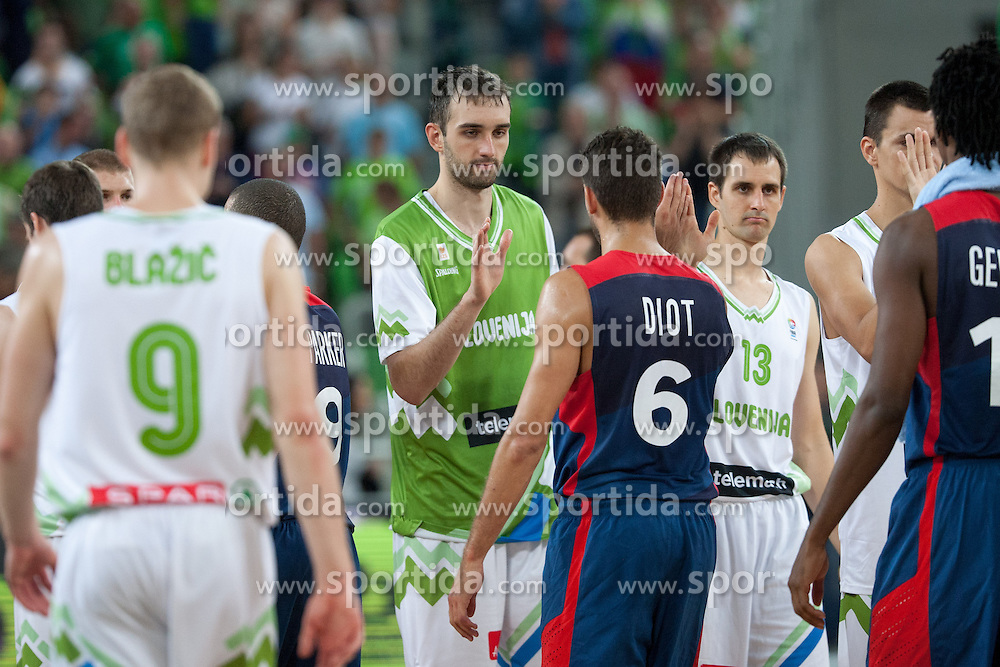 Players after friendly match between National teams of Slovenia and France for Eurobasket 2013 on August 31, 2013 in Arena Stozice, Ljubljana, Slovenia. (Photo by Matic Klansek Velej / Sportida.com)