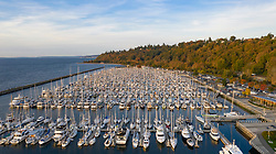 United States, Washington, Seattle.  Shilshole Marina and Elliott Bay (aerial view)