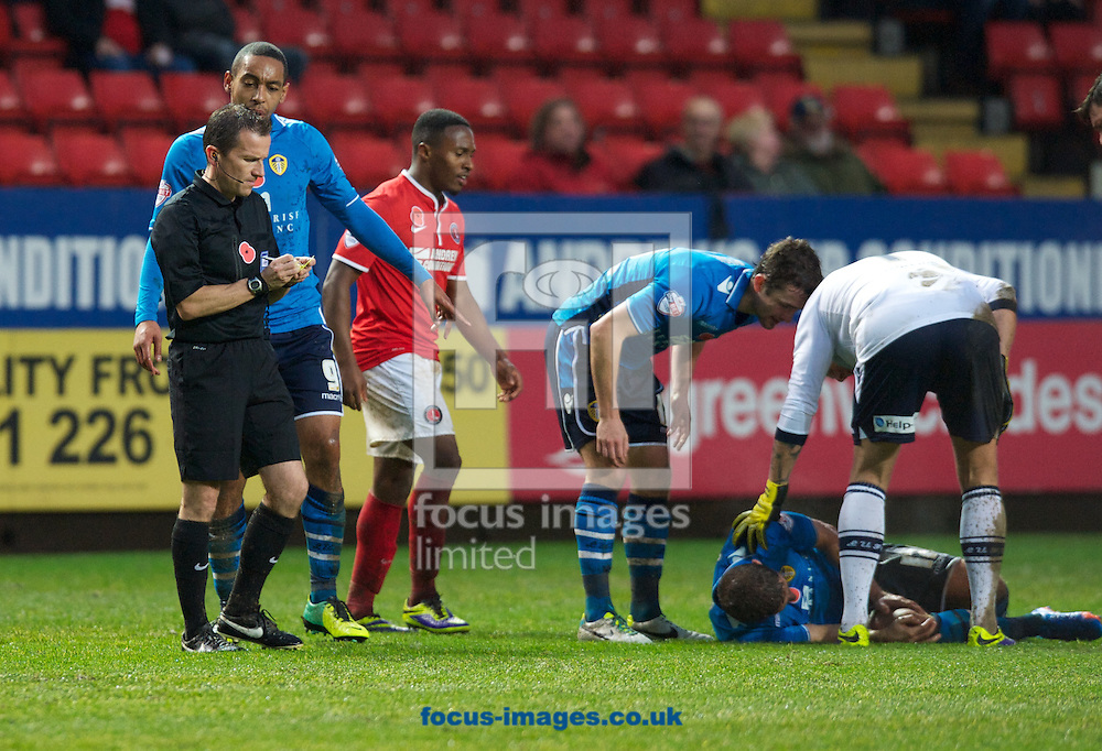 Picture by Alan Stanford/Focus Images Ltd +44 7915 056117<br /> 09/11/2013<br />  Michael Morrison of Charlton Athletic (out of shot) is shown the yellow card by Referee Mr Keith Stroud during the Sky Bet Championship match at The Valley, London.