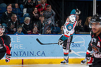 KELOWNA, CANADA -FEBRUARY 25: Tyrell Goulbourne #12 of the Kelowna Rockets celebrates a goal against the Prince George Cougars during the first period on February 25, 2014 at Prospera Place in Kelowna, British Columbia, Canada.   (Photo by Marissa Baecker/Getty Images)  *** Local Caption *** Tyrell Goulbourne;