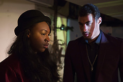 © Licensed to London News Pictures. 17/11/2015. London, UK. Henrietta Imoreh as Faith and Mohammed Shafick as Rocco. Photocall for the play ELECTRIC at the Rio Cinema in Dalston. The play is produced in connection with The Big House (TBH) charity for young people who have been though the care system. ELECTRIC is written by Andy Day and directed by Maggie Norris and will run from 18 November to 12 December 2015. Photo credit: Bettina Strenske/LNP