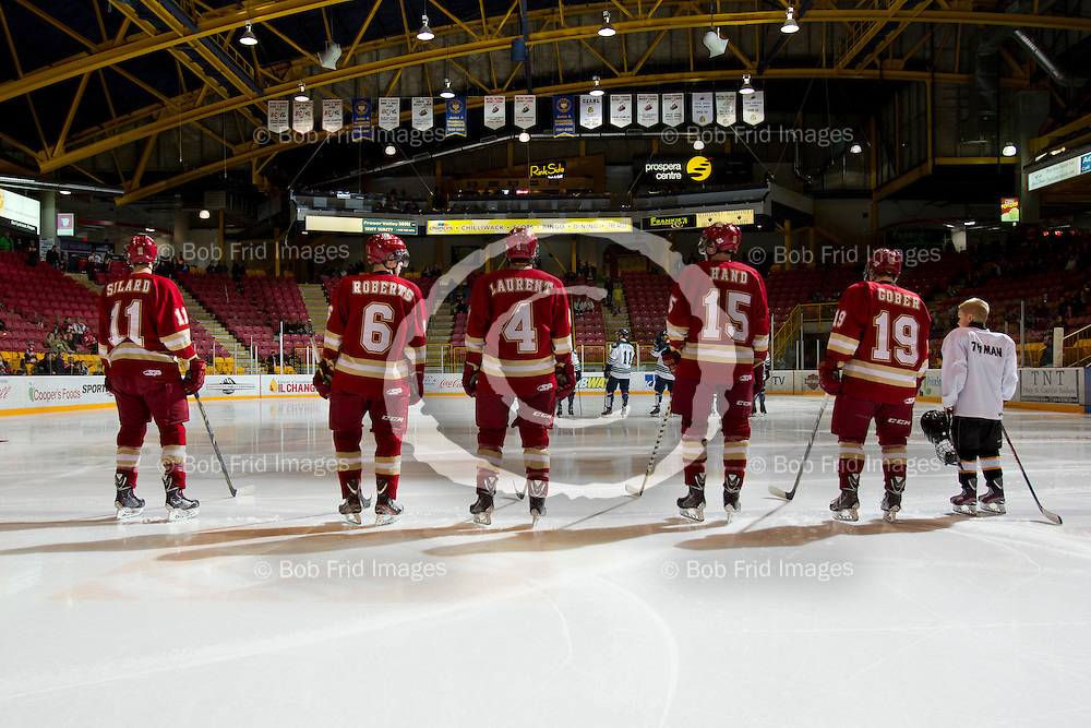 29 December 2013: Andrew Silard (11) of the Chiefs, Eric Roberts (6) of the Chiefs, Shay Laurent (4) of the Chiefs, Jake Hand (15) of the Chiefs ,Blake Gober (19) of the Chiefs   during a game between the Chilliwack Chiefs and the Surrey Eagles at Prospera Centre, Chilliwack, BC.    ****(Photo by Bob Frid - All Rights Reserved 2013): mobile: 778-834-2455 : email: bob.frid@shaw.ca ****