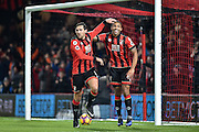 AFC Bournemouth Defender, Charlie Daniels (11) and AFC Bournemouth Forward, Callum Wilson (13) celebrate after the opening goal 1-0 during the Premier League match between Bournemouth and Arsenal at the Vitality Stadium, Bournemouth, England on 3 January 2017. Photo by Adam Rivers.