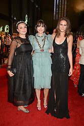 Left to right, GIZZI ERSKINE, SAM ROLLINSON and CHARLOTTE WIGGINS  at the GQ Men of The Year Awards 2016 in association with Hugo Boss held at Tate Modern, London on 6th September 2016.