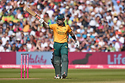 Alex Hales of Notts Outlaws raises his bat on reaching his half century during the Vitality T20 Finals Day 2019 match between Notts Outlaws and Worcestershire Rapids at Edgbaston, Birmingham, United Kingdom on 21 September 2019.