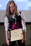 Victoria Toy of River Valley Middle School introduces herself during the Southeastern Ohio Regional Spelling Bee Regional Saturday, March 16, 2013. The Regional Spelling Bee was sponsored by Ohio University's Scripps College of Communication and held in Margaret M. Walter Hall on OU's main campus.