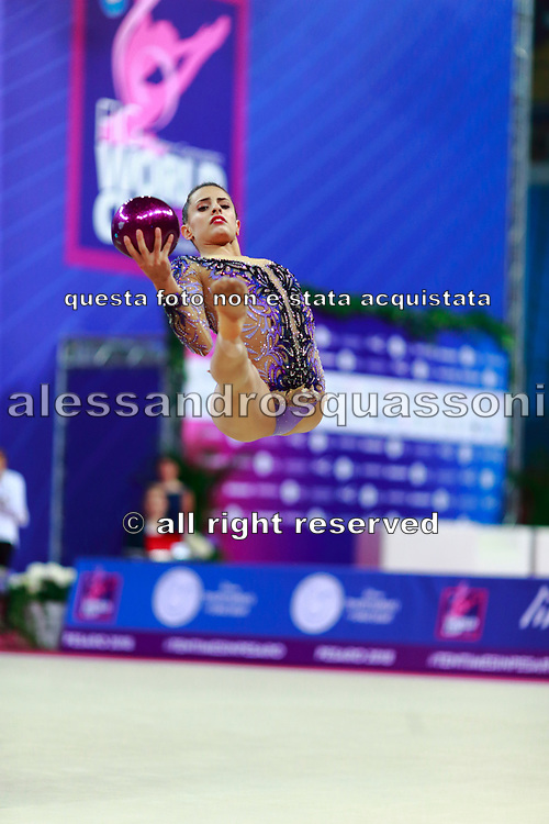 Ashram Linoy from Israel during the final of the ball won the silver medal. She is known for her and very high jumps. Her targhet is to win Israel's first Olympic rhythmic gymnastics medal at the 2020 Olympic Games in Tokyo..