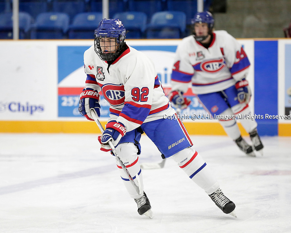 TRENTON, ON - Oct 9, 2015 : Ontario Junior Hockey League game action between Toronto and Trenton, Lucas Colalillo #92 of the Toronto Jr Canadiens<br /> (Photo by Amy Deroche / OJHL Images)