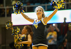 Nov 23, 2015; Morgantown, WV, USA; A West Virginia Mountaineers dancer performs before the tip against the Bethune-Cookman Wildcats at WVU Coliseum. Mandatory Credit: Ben Queen-USA TODAY Sports