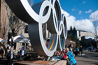 Sunshine lights up the Olympic Rings during the 2010 Olympic Winter Games in Whistler, BC Canada.