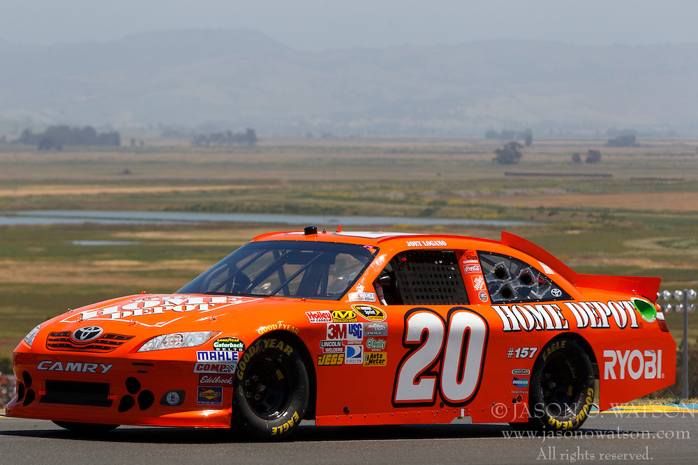 June 26, 2011; Sonoma, CA, USA;  NASCAR Sprint Cup Series driver Joey Logano (20) during the Toyota/Save Mart 350 at Infineon Raceway.
