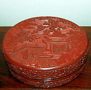 Box with landscape design. Carved lacquer on wood. 1403-24, Ming dynasty, Yongle reign period.