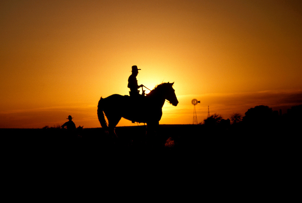 Texas: Fort Worth, Cowboy, sunset, photo: txfort102  .Photo copyright Lee Foster, www.fostertravel.com, 510/549-2202, lee@fostertravel.com