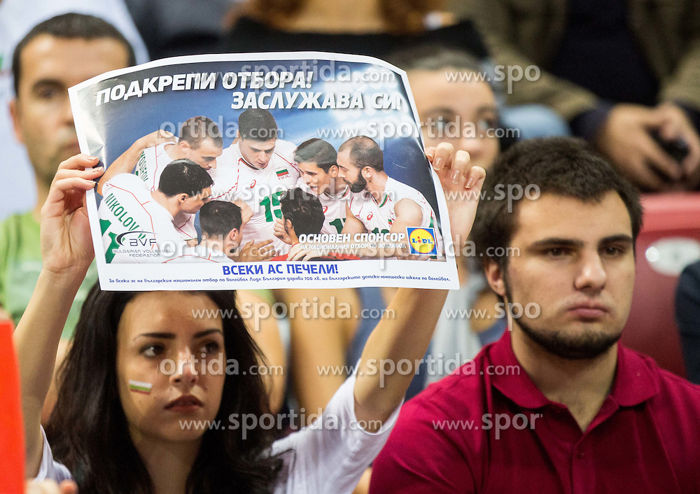 Fans of Bulgaria look dejected during volleyball match between National teams of Bulgaria and Italy at Third place match of 2015 CEV Volleyball European Championship - Men, on October 18, 2015 in Arena Armeec, Sofia, Bulgaria. Photo by Vid Ponikvar / Sportida