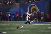 New England Patriots kicker Stephen Gostkowski (3) in action during the NFL Super Bowl 53 football game against the Los Angeles Rams on Sunday, Feb. 3, 2019, in Atlanta. The Patriots defeated the Rams 13-3. (©Paul Anthony Spinelli)