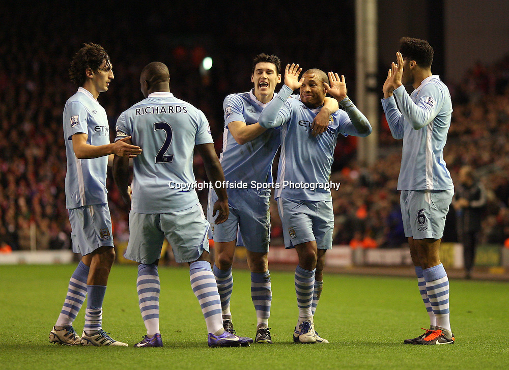 25/01/2012 - Carling Cup Semi-Final (2nd Leg) - Liverpool vs. Manchester City - Nigel de Jong of Man City (2R) celebrates after scoring their 1st goal - Photo: Simon Stacpoole / Offside.