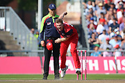 Lancashire Lightnings James Falkner   during the Vitality T20 Blast North Group match between Lancashire Lightning and Derbyshire Falcons at the Emirates, Old Trafford, Manchester, United Kingdom on 26 August 2019.
