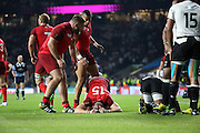 England's Full Back Mike Brown got slightly injured scoring his second try (Eng28-Fiji 11) during the Rugby World Cup Pool A match between England and Fiji at Twickenham, Richmond, United Kingdom on 18 September 2015. Photo by Matthew Redman.