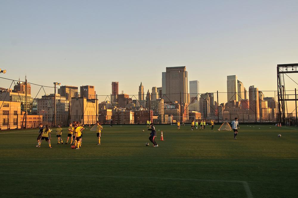 Practice Field,  Hudson River Park, Pier 40, Houston Street, Manhattan, New York City, New York, USA