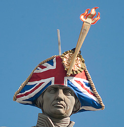 The statue of Admiral Lord Nelson in Trafalgar Square, London, gets a new hat for the first time in 200years, as part of 'Hatwalk' a visual spectacular commissioned by The Mayor of London, Monday, 30th July 2012.  Photo by: i-Images