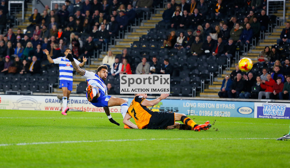 Daniel Williams has an early shot saved before Hull City v Reading, SkyBet Championship, Wednesday 16th December 2015, KC Stadium, Hull