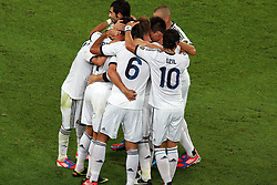 Real Madrid players celebrate after Ronaldo score the opening goal. Barcelona v Real Madrid, Supercopa first leg, Camp Nou, Barcelona, 23rd August 2012...Credit - Eoin Mundow/Cleva Media