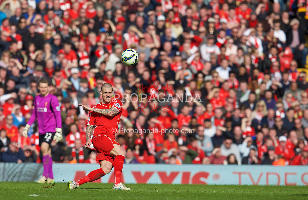 LIVERPOOL, ENGLAND - Sunday, March 22, 2015: Liverpool's Martin Skrtel in action against Manchester United during the Premier League match at Anfield. (Pic by David Rawcliffe/Propaganda)