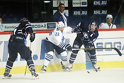28.08.2015, Dom Sportova, Zagreb, CRO, KHL League, KHL Medvescak vs Admiral Vladivostok, 2. Runde, im Bild Stanislav Alshevsky, Tuukka Mantyla. // during the Kontinental Hockey League, 2nd round match between KHL Medvescak and Admiral Vladivostok at the Dom Sportova in Zagreb, Croatia on 2015/08/28. EXPA Pictures © 2015, PhotoCredit: EXPA/ Pixsell/ Goran Jakus<br /> <br /> *****ATTENTION - for AUT, SLO, SUI, SWE, ITA, FRA only*****