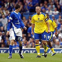 Fotball<br /> Foto: SBI/Digitalsport<br /> NORWAY ONLY<br /> <br /> Ipswich Town v Cardiff City<br /> Coca Cola Championship.<br /> 06/08/2005.<br /> <br /> Darren Purse of Cardiff lets his fellings known to Owen Garvan of Ipswich