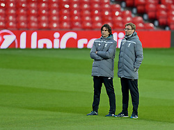 MANCHESTER, ENGLAND - Wednesday, March 16, 2016: Liverpool's manager Jürgen Klopp and assistant manager Zeljko Buvac during a training session at Old Trafford ahead of the UEFA Europa League Round of 16 2nd Leg match against Manchester United. (Pic by David Rawcliffe/Propaganda)