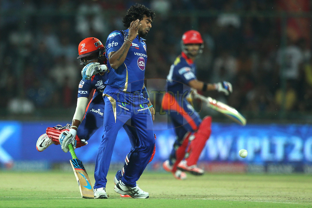 Shreyas Iyer of the Delhi Daredevils , Lasith Malinga of the Mumbai Indians in action during match 21 of the Pepsi IPL 2015 (Indian Premier League) between The Delhi Daredevils and The Mumbai Indians held at the Ferozeshah Kotla stadium in Delhi, India on the 23rd April 2015.<br /> <br /> Photo by:  Deepak Malik / SPORTZPICS / IPL