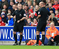 Referee R Madley (right) is substituted by 4th official J Moss (left) - Mandatory by-line: Paul Roberts/JMP - 04/11/2017 - FOOTBALL - Bet365 Stadium - Stoke-on-Trent, England - Stoke City v Leicester City - Premier League