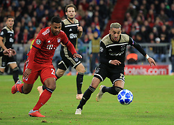 02.10.2018, CL, Champions League, FC Bayern Muenchen vs Ajax Amsterdam, Allianz Arena  Muenchen, im Bild:...Serge Gnabry (FCB) vs Hakim Ziyech ( Ajax Amsterdam)..DFL REGULATIONS PROHIBIT ANY USE OF PHOTOGRAPHS AS IMAGE SEQUENCES AND / OR QUASI VIDEO...Copyright: Philippe Ruiz..Tel: 089 745 82 22.Handy: 0177 29 39 408.e-Mail: philippe_ruiz@gmx.de. (Credit Image: © Philippe Ruiz/Xinhua via ZUMA Wire)