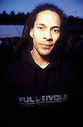 Drum and bass producer/DJ, Roni Size, festival, UK, 1990s.