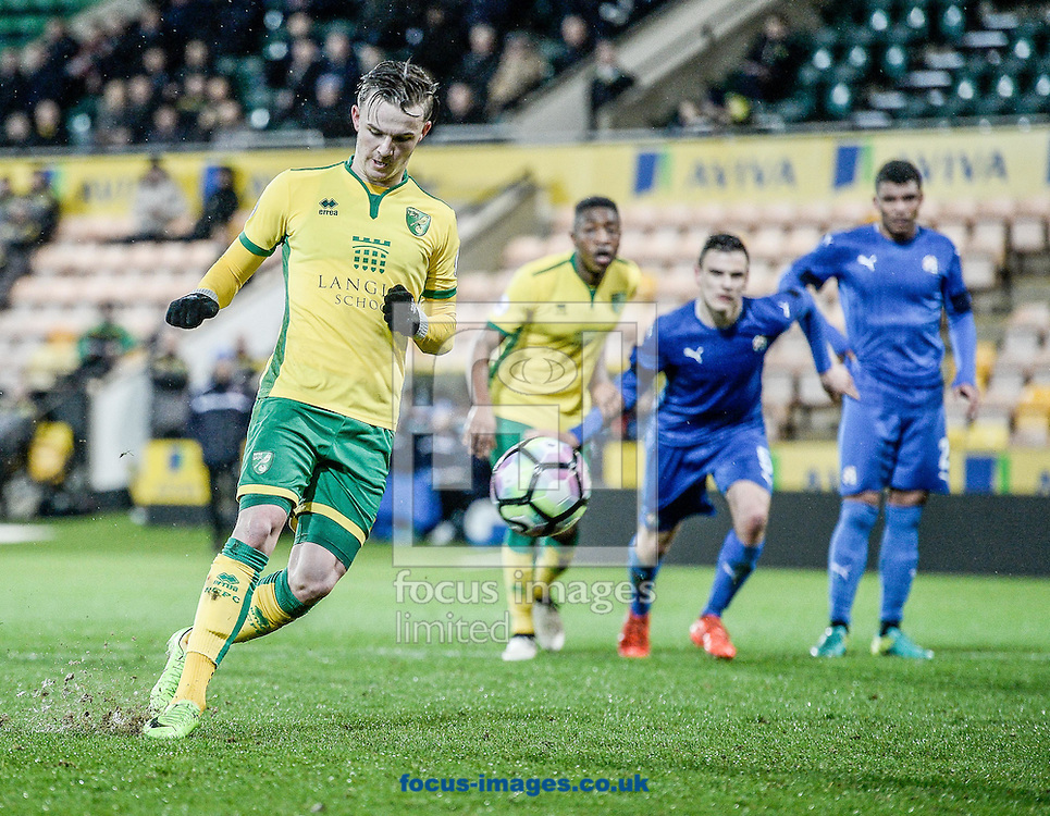 James Maddison scores the penalty for Norwich City U23 against Dinamo Zagreb U23 during the Premier League International Cup Quarter-Final match at Carrow Road, Norwich<br /> Picture by Matthew Usher/Focus Images Ltd +44 7902 242054<br /> 27/02/2017