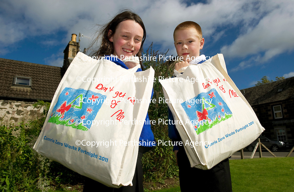 FREE TO USE PHOTOGRAPH...14.09.11 Launch of Comrie Zero Waste Fortnight, pictured Lily Wilson (9) and Jake Doy (11) both pupils at Comrie Primary School who designed the bags for the waste fortnight..<br /> for further info contact Nicola McGovern Zero Waste Scotland on 01786 468890 or 07540 516156<br /> Picture by Graeme Hart.<br /> Copyright Perthshire Picture Agency<br /> Tel: 01738 623350  Mobile: 07990 594431