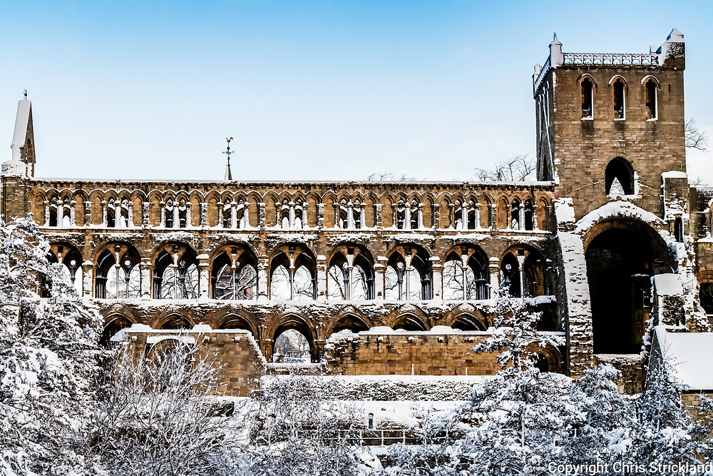17th January 2018. The 12th Century Augustinian Jedburgh Abbey draped in snow.