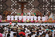 CARTAGENA,COLOMBIA 10 SEPT, 2017: Pope Francis celebrates the Mass at the conclusion of his visit to Colombia at Port area of Contecar in Cartagena, Colombia.