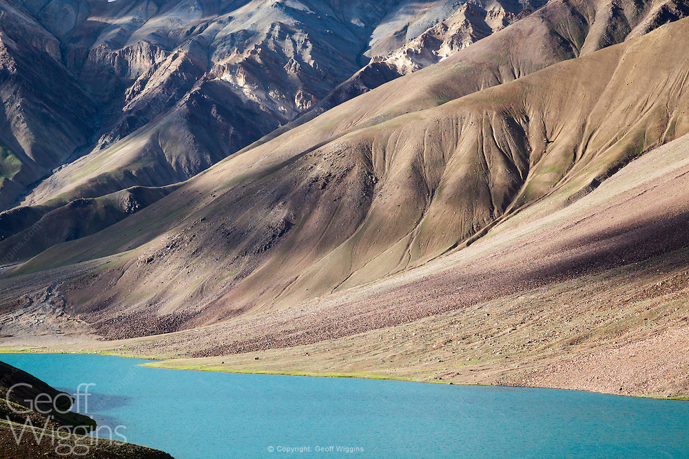 Chandra Taal lake near Kunzum Pass between Spiti and Lahaul valley, Himachal Pradesh, Northern India