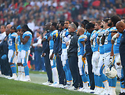 LONDON, ENGLAND - OCTOBER 21: The LA Charger team line up for the national anthems during the NFL game between Tennessee Titans and Los Angeles Chargers at Wembley Stadium on October 21, 2018 in London, United Kingdom. (Photo by Mitchell Gunn/Pro Lens Photo Agency) *** Local Caption ***