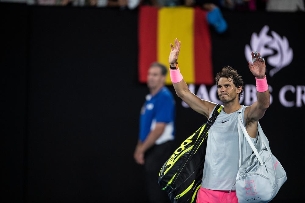 Rafael Nadal of Spain on day nine of the 2018 Australian Open in Melbourne Australia on Tuesday January 23, 2018.<br /> (Ben Solomon/Tennis Australia)