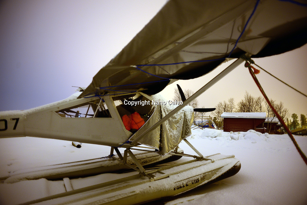 Water plane parked in Lake Inari, Lapland, Finland