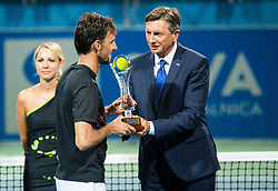 Runner up Andrea Arnaboldi (ITA) and Borut Pahor, president of Slovenia during the Trophy ceremony after the Final Singles match at Day 9 of ATP Challenger Zavarovalnica Sava Slovenia Open 2018, on August 11, 2018 in Sports centre, Portoroz/Portorose, Slovenia. Photo by Vid Ponikvar / Sportida
