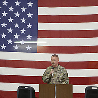 Maj. Len Fortenberry delivers the send off speech for Company C 1-114th Aviation Secuirty and Support as they prepare to deploy to support Operation Guardian Support to help monitor the Southwest border.
